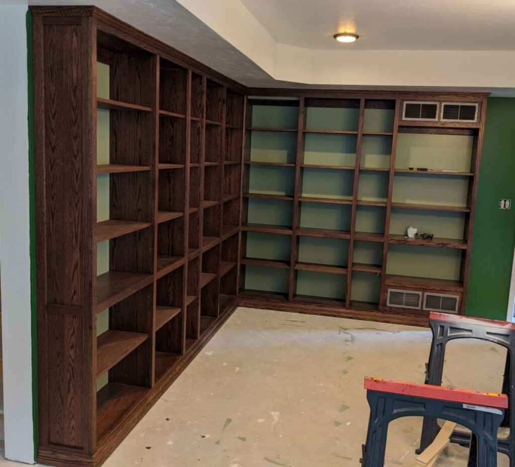 Bookcases with trim